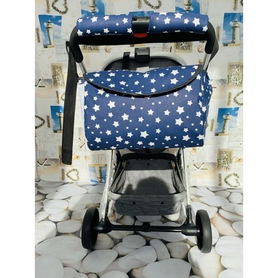 Чанта за бебешка количка, тъмно сини звезди