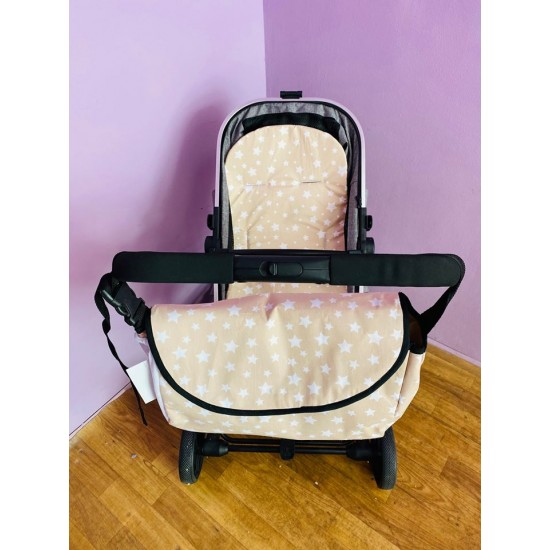 Чанта за бебешка количка бежови звезди
