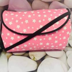 Чанта за бебешка количка , розови звезди