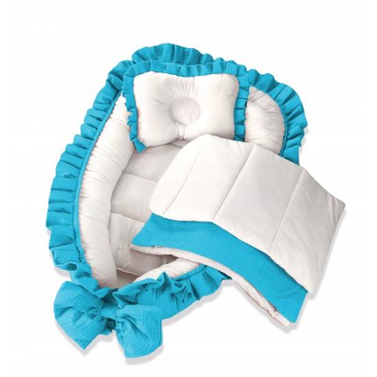 Луксозен комплект за новородено бебе – синьо гнездо с аксесоари