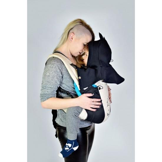 Шапка за мама и бебе слинг ,кенгуро ерго раница черна