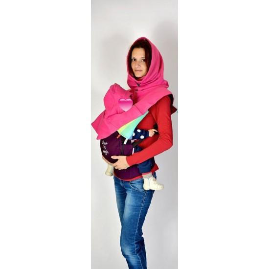 Шапка за мама и бебе слинг ,кенгуро ерго раница розова