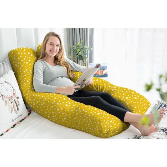 Възглавница за бременни у -образна жълти звезди