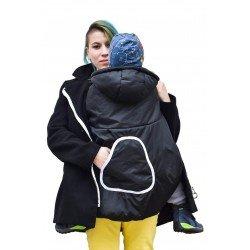 Зимно покривало за раница черно с качулка и джоб