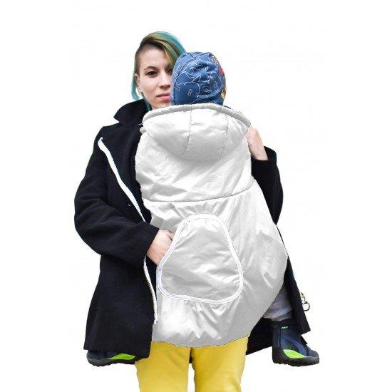 Зимно покривало за раница бяло с качулка и джоб