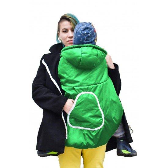 Зимно покривало за раница зелено с качулка и джоб