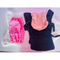 Чанта за раница и слинг, розови звезди