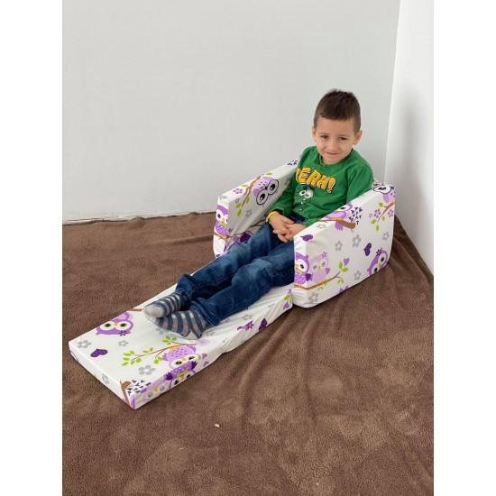Кресло за дете разтегливо лилави бухали