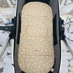 Подложка за количка лукс - бежови звезди