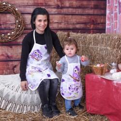 Комплект престилки за готвене Лилави бухали