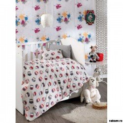 Бебешки спален комплект сиви бухали
