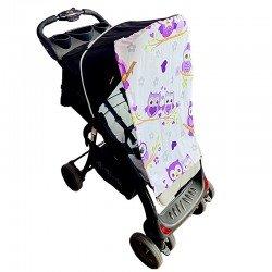 Тента за бебешка количка лилави бухали